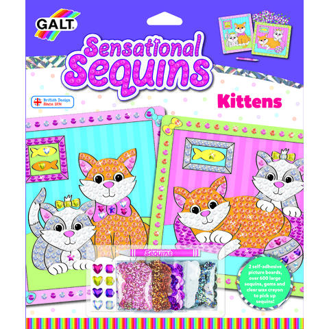 Galt Sensational Sequins: Set 2 tablouri cu pisicute