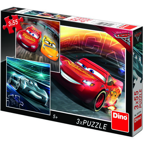 Dino Toys Puzzle 3 in 1 - Cars (3 x 55 piese)