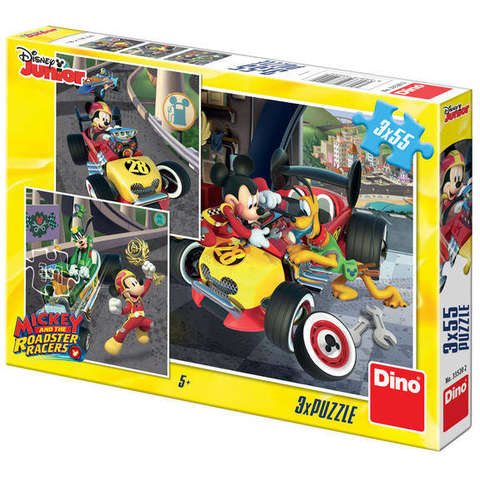 Dino Toys Puzzle 3 in 1 - Cursa lui Mickey Mouse (3 x 55 piese)
