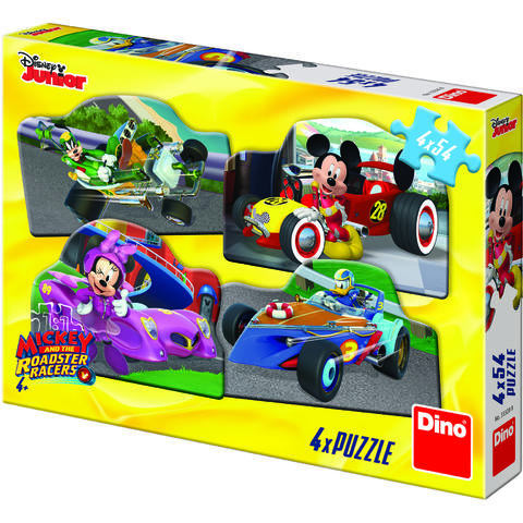 Dino Toys Puzzle 4 in 1 - Mickey Mouse si Minnie la cursa (54 piese)