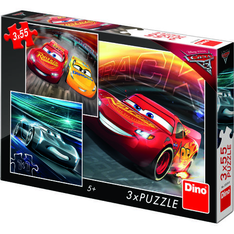 Dino Toys Puzzle 3 in 1 - Cars 3: Cursa cea mare (55 piese)