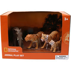 National Geographic Set 4 figurine - Leopard, Elefant, Tigru si Pui Tigru