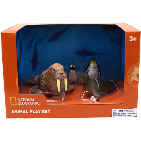 National Geographic Set 4 figurine - Morsa, Foca, Pinguin si Pui Pinguin