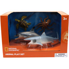 National Geographic Set 4 figurine - Broasca testoasa, Rechin, Delfin si Caracatita