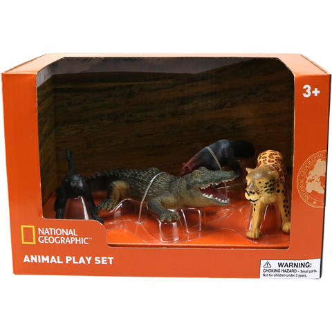 National Geographic Set 4 figurine - Furnicar, Crocodil, Leopard si Maimuta