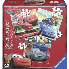 Puzzle Cars, 3 Buc In Cutie, 25/36/49 Piese