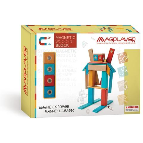 MAGPLAYER Set magnetic din lemn - 24 piese