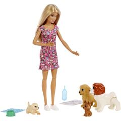 BARBIE Gama Family - Set Papusa cu catelusi